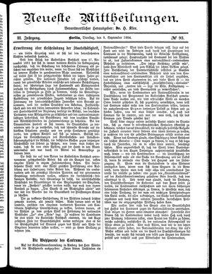 Neueste Mittheilungen vom 09.09.1884