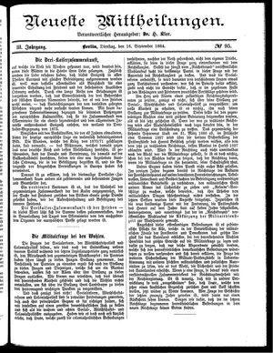 Neueste Mittheilungen vom 16.09.1884