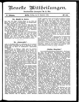 Neueste Mittheilungen vom 30.09.1884