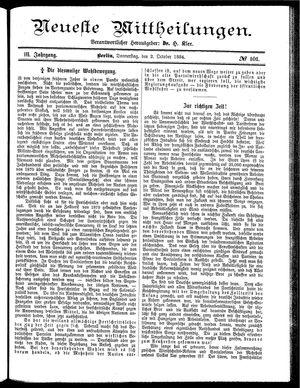 Neueste Mittheilungen vom 02.10.1884