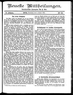 Neueste Mittheilungen vom 04.10.1884
