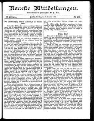 Neueste Mittheilungen vom 07.10.1884