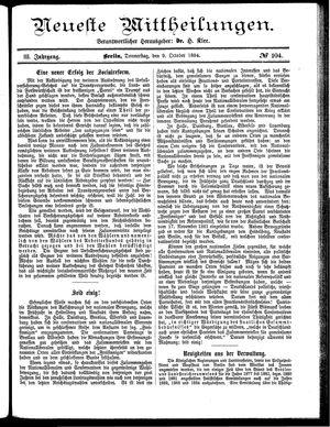 Neueste Mittheilungen vom 09.10.1884