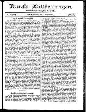 Neueste Mittheilungen vom 16.10.1884