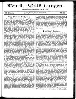 Neueste Mittheilungen vom 21.10.1884