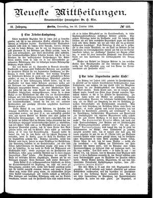 Neueste Mittheilungen vom 23.10.1884
