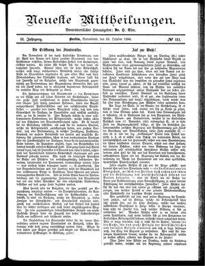 Neueste Mittheilungen vom 25.10.1884