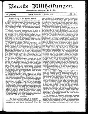 Neueste Mittheilungen vom 07.11.1884