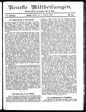 Neueste Mittheilungen vom 11.11.1884