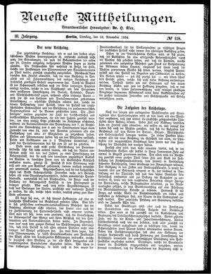 Neueste Mittheilungen vom 18.11.1884