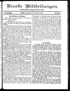 Neueste Mittheilungen vom 20.11.1884