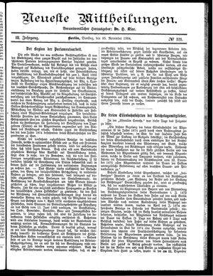 Neueste Mittheilungen vom 25.11.1884