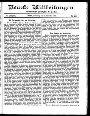 Neueste Mittheilungen vom 27.11.1884