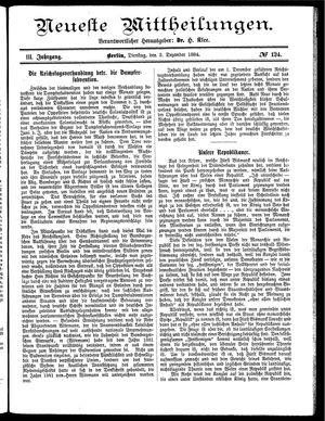 Neueste Mittheilungen vom 02.12.1884
