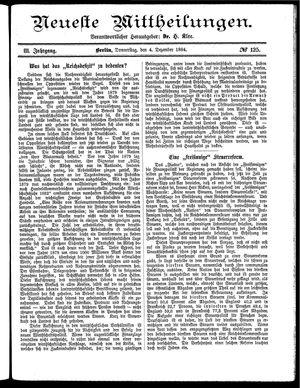 Neueste Mittheilungen vom 04.12.1884