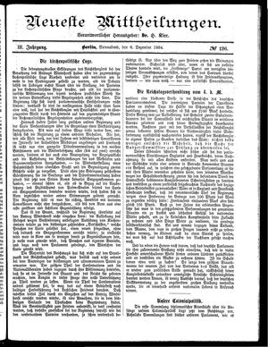 Neueste Mittheilungen vom 06.12.1884