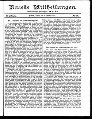 Neueste Mittheilungen vom 09.12.1884