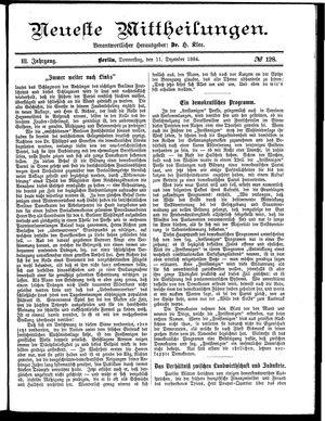 Neueste Mittheilungen vom 11.12.1884