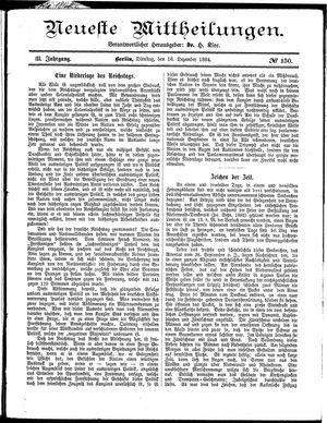 Neueste Mittheilungen vom 16.12.1884