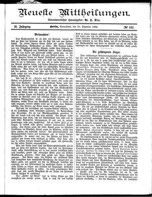 Neueste Mittheilungen vom 20.12.1884