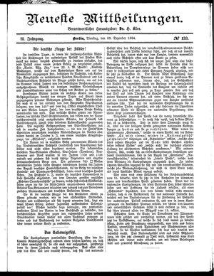 Neueste Mittheilungen vom 23.12.1884
