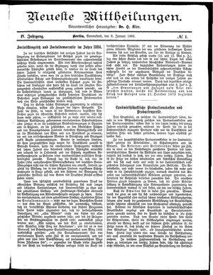 Neueste Mittheilungen vom 03.01.1885