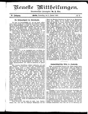 Neueste Mittheilungen vom 08.01.1885