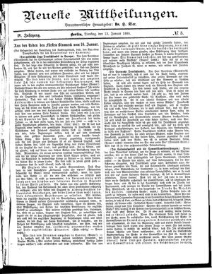 Neueste Mittheilungen vom 13.01.1885