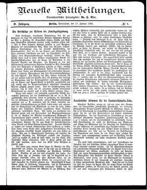 Neueste Mittheilungen vom 17.01.1885