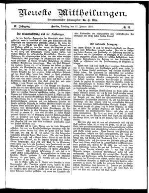 Neueste Mittheilungen vom 27.01.1885