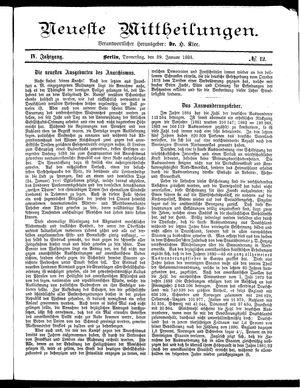 Neueste Mittheilungen vom 29.01.1885