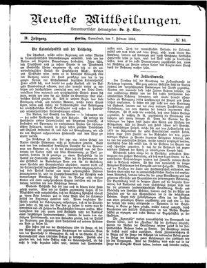 Neueste Mittheilungen vom 07.02.1885