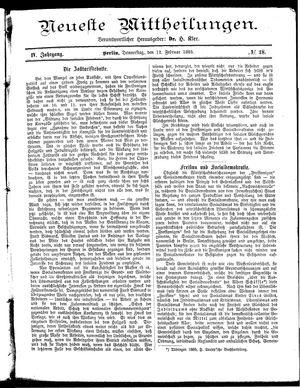 Neueste Mittheilungen vom 12.02.1885