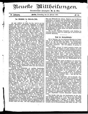 Neueste Mittheilungen vom 19.02.1885