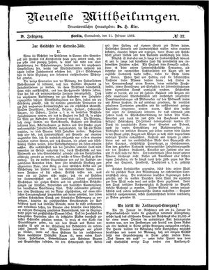 Neueste Mittheilungen vom 21.02.1885