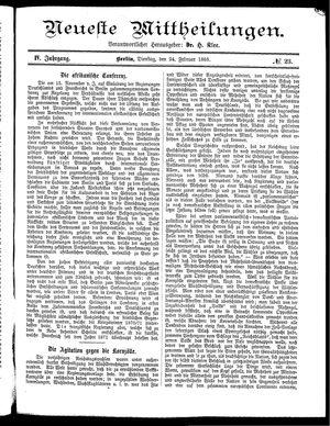 Neueste Mittheilungen vom 24.02.1885