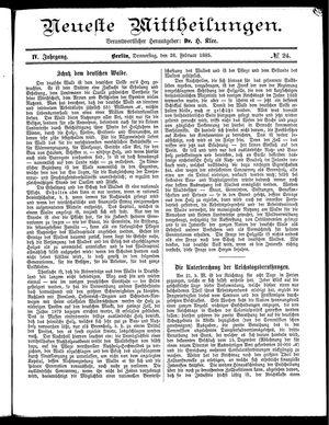 Neueste Mittheilungen vom 26.02.1885