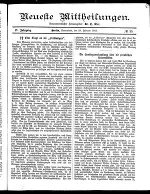 Neueste Mittheilungen vom 28.02.1885
