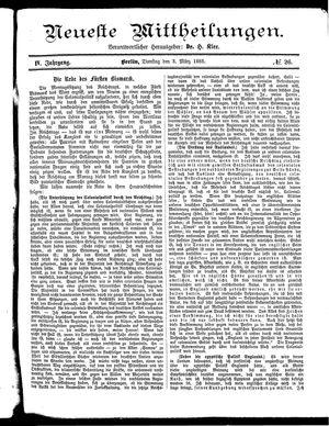Neueste Mittheilungen vom 03.03.1885