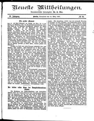Neueste Mittheilungen vom 14.03.1885