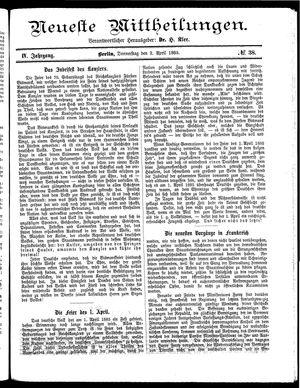 Neueste Mittheilungen vom 02.04.1885