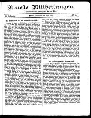 Neueste Mittheilungen on Apr 14, 1885
