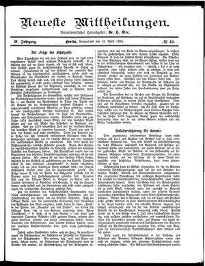 Neueste Mittheilungen on Apr 18, 1885