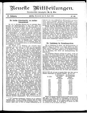 Neueste Mittheilungen on Apr 25, 1885