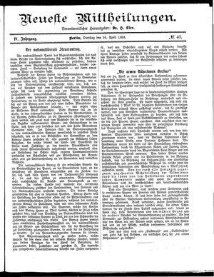 Neueste Mittheilungen vom 28.04.1885