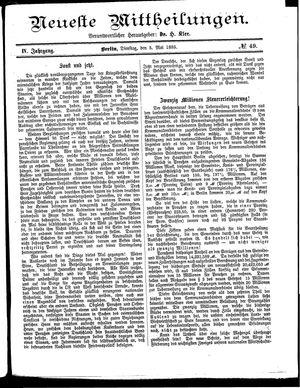 Neueste Mittheilungen on May 5, 1885