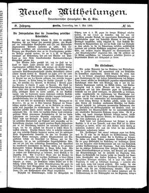 Neueste Mittheilungen vom 07.05.1885