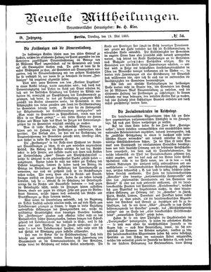 Neueste Mittheilungen vom 19.05.1885