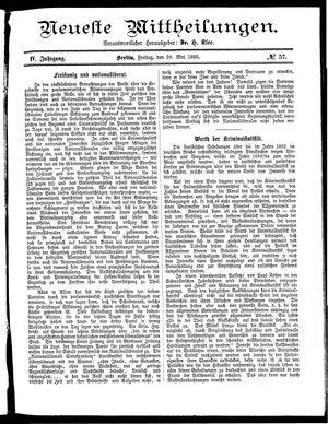 Neueste Mittheilungen vom 29.05.1885