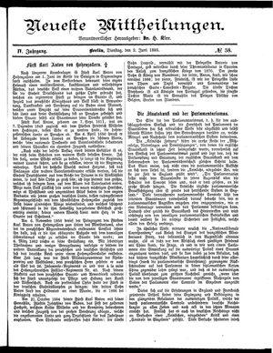 Neueste Mittheilungen vom 02.06.1885